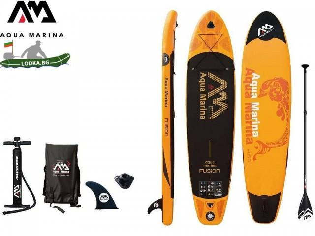 AquaMarina BT-FUP - Надуваем SUP борд FUSION, Размери: 315х76х15 cm, С гребло, помпа и сак за съхранение, Товароносимост: 135 кг