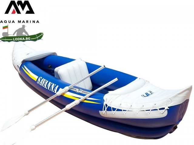 "AquaMarina BT-88580 – Двуместен надуваем Каяк ""Savanna"", Размери: 292 x 80 cm, Товароносимост: 120 кг, С гребла и помпа в комплекта"