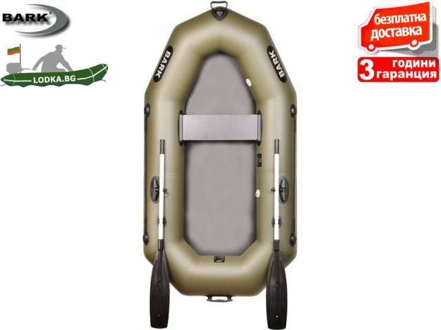"""BARK - Надуваема ГРЕБНА ЕДНОМЕСТНА РИБАРСКА лодка """"B-220"""", Размери: 220x115 cm, Товароносимост: 155 кг, Цвят: Зелен"""