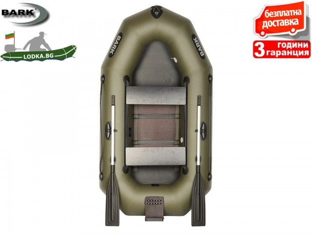 """BARK - Надуваема ГРЕБНА ДВУМЕСТНА РИБАРСКА лодка """"B-230CND"""", Размери: 230x124 cm, Товароносимост: 210 кг, Цвят: Зелен"""