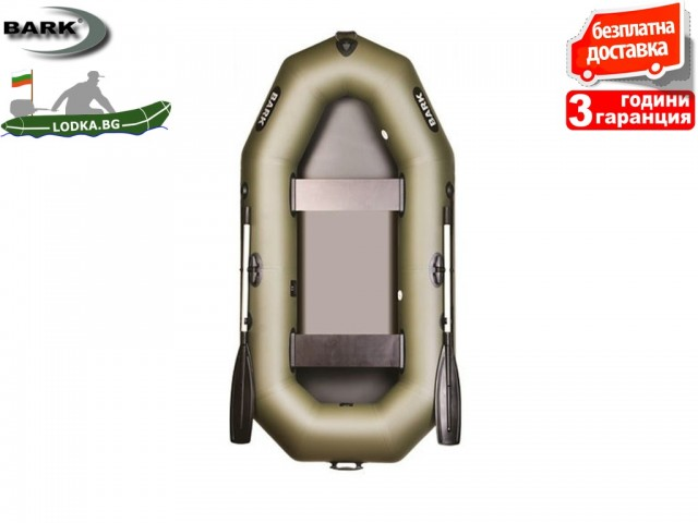 """BARK - Надуваема ГРЕБНА ДВУМЕСТНА РИБАРСКА лодка """"B-240"""", Размери: 240x120 cm, Товароносимост: 200 кг, Цвят: Зелен"""