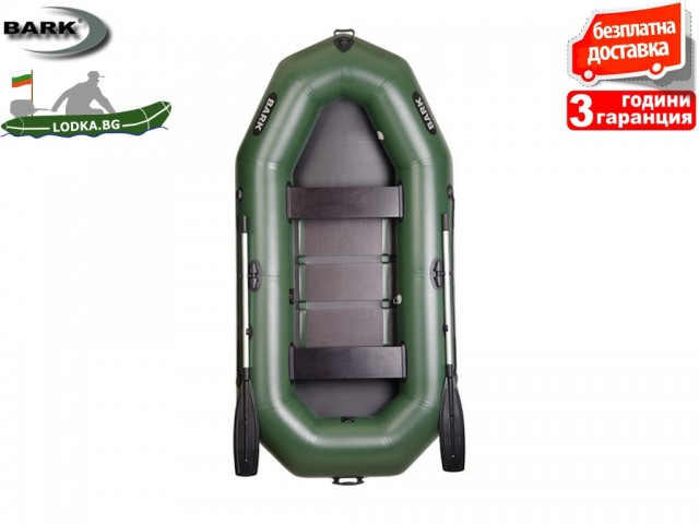 """BARK - Надуваема ГРЕБНА ТРИМЕСТНА РИБАРСКА лодка """"B-280"""", Размери: 280x135 cm, Товароносимост: 288 кг, Цвят: Зелен"""