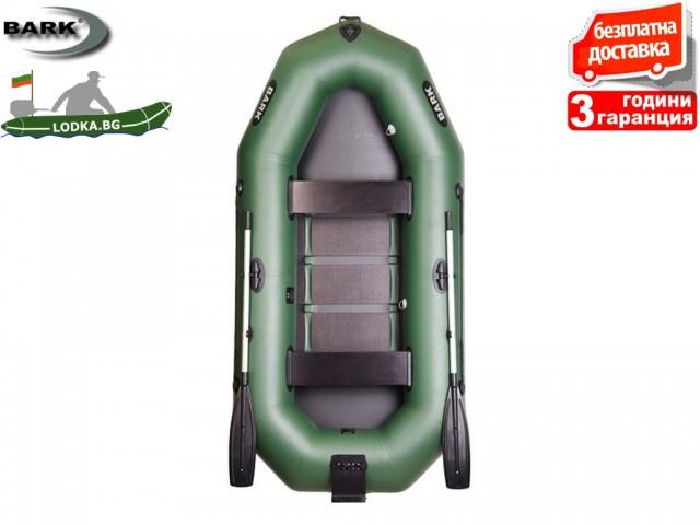 """BARK - Надуваема ГРЕБНА ТРИМЕСТНА РИБАРСКА лодка """"B-280N"""", Размери: 280x135 cm, Товароносимост: 288 кг, Цвят: Зелен"""