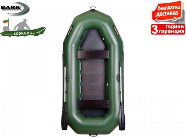 """BARK - Надуваема ГРЕБНА ТРИ-ЧЕТИРИМЕСТНА РИБАРСКА лодка """"B-300"""", Размери: 300x146 cm, Товароносимост: 375 кг, Цвят: Зелен"""