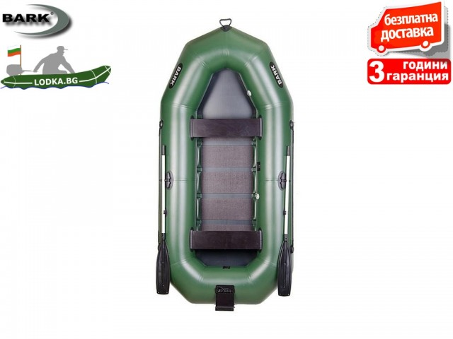 """BARK - Надуваема ГРЕБНА ТРИ-ЧЕТИРИМЕСТНА РИБАРСКА лодка """"B-300N"""", Размери: 300x146 cm, Товароносимост: 375 кг, Цвят: Зелен"""