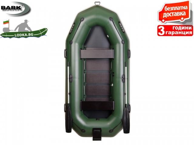"""BARK - Надуваема ГРЕБНА ТРИ-ЧЕТИРИМЕСТНА РИБАРСКА лодка """"B-300NP"""", Размери: 300x146 cm, Товароносимост: 375 кг, Цвят: Зелен"""