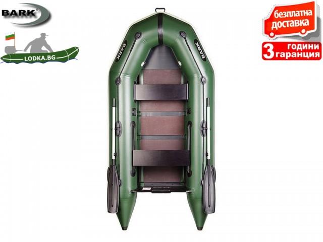 """BARK - Надуваема МОТОРНА ДВУМЕСТНА РИБАРСКА лодка """"BT-270"""", Размери 270x130 cm, Товароносимост: 230 кг, Цвят: Зелена"""