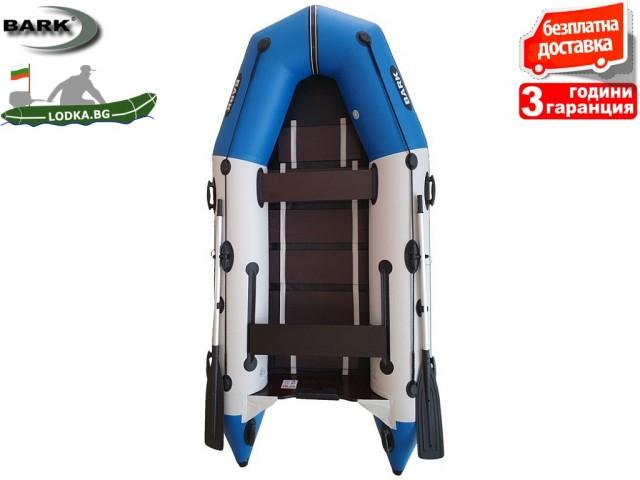 """BARK - Надуваема МОТОРНА ТРИМЕСТНА РИБАРСКА лодка """"BT-310"""", Размери 310x148 cm, Товароносимост: 320 кг, Цвят: Светло сив + синьо"""