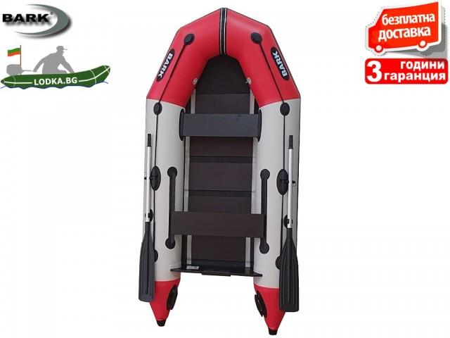 """BARK - Надуваема МОТОРНА ТРИМЕСТНА РИБАРСКА лодка """"BT-310"""", Размери 310x148 cm, Товароносимост: 320 кг, Цвят: Светло сив + червен"""