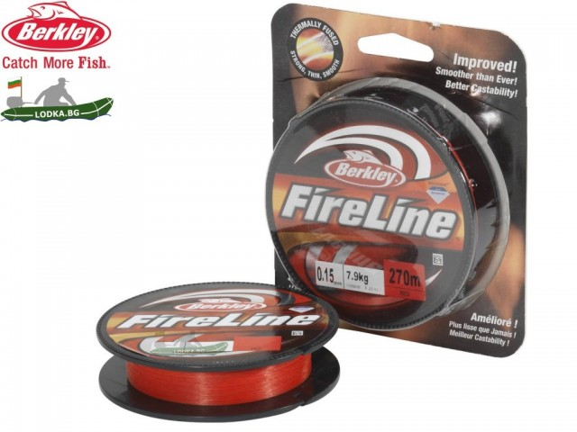 BERKLEY 1308610 - Суперлайн влакно FireLine Red, Дължина: 270 m, Дебелина: 0.20 mm, Цвят: Червен