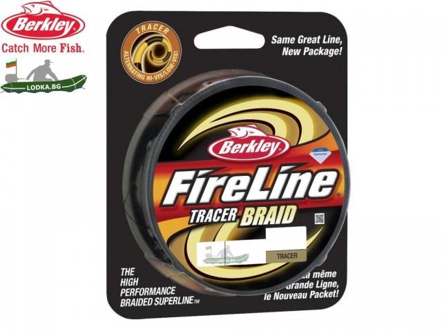 BERKLEY 1312434 - Плетено влакно FireLine Tracer Braid, Дължина: 270 m, Дебелина: 0.45 mm, Два цвята: сигнално зелено и черно