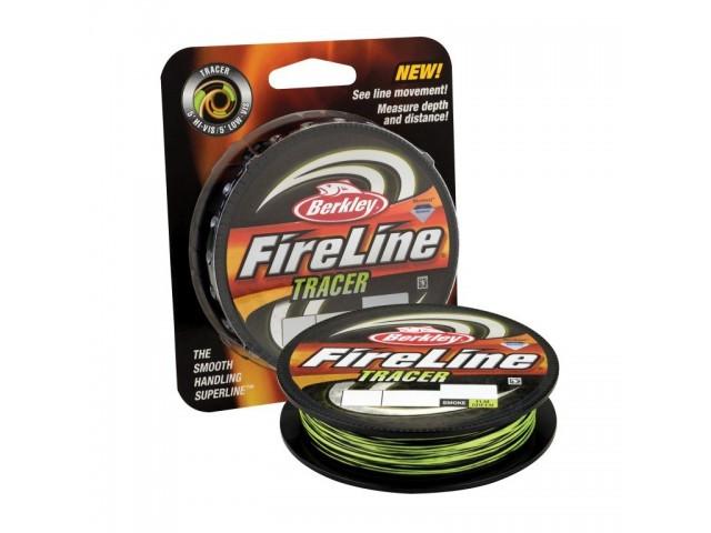 BERKLEY 1345457 - Суперлайн влакно FireLine Tracer, Дължина: 270 m, Дебелина: 0.25 mm, Два цвята: сигнално зелено и опушено черно, Цветова смяна на всеки 1.5 m