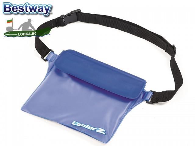 BESTWAY 62103  - Чанта водонепромокаема, За съхранение на телефони, лични документи, кърпи и др., Размери: 275x205 mm, С регулируем ремък за носене през кръста