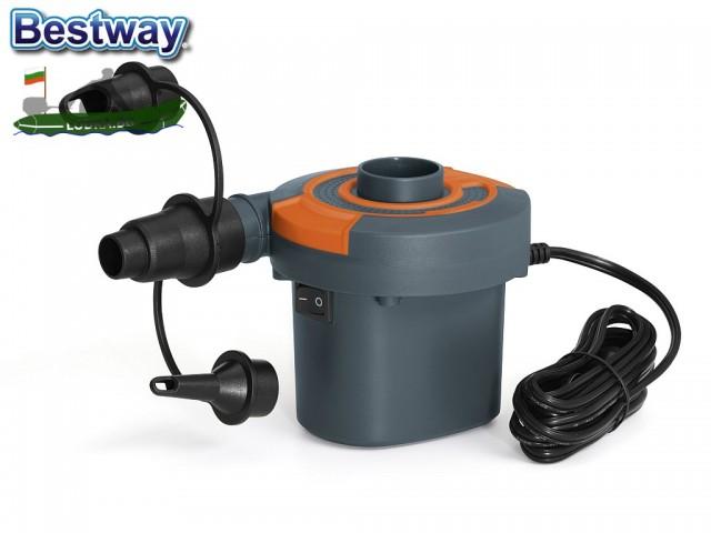 BESTWAY 62142 - Електрическа помпа, Работи на 220V и на 12V, 490 л/мин, Двупосочна - за надуване и изпускане, 3 накрайника