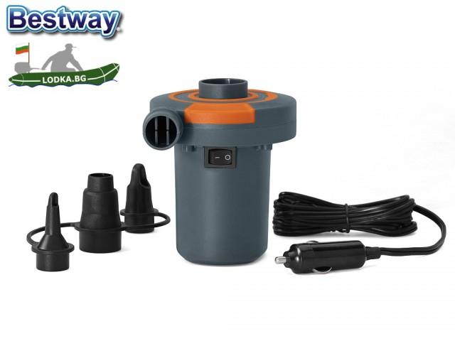 BESTWAY 62144 - Електрическа помпа, Работи на 12V, 680 л/мин, Двупосочна - за надуване и изпускане, 3 накрайника