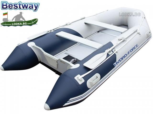 """BESTWAY 65049 - Надуваема КИЛОВА РИБАРСКА лодка """"HYDRO-FORCE MIROVIA PRO"""" с алуминиево дъно с товароносимост за ЧЕТИРИМА възрастни и ЕДНО дете, Размери 330x162x44 cm, Товароносимост: 640 кг"""