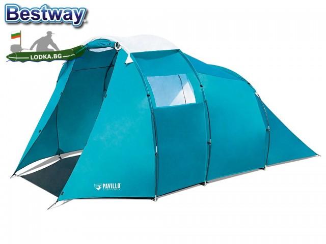 """BESTWAY 68090 - ЧЕТИРИМЕСТНА палатка """"Family Dome 4"""", Размери: (225+80+95) x 2.55 x 1.80 cm, Тегло: 7.40 кг"""
