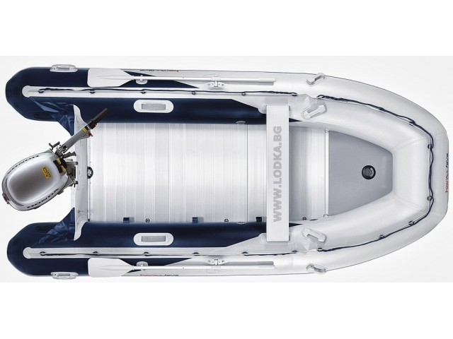 """HONDA T25 AE2 - Надуваема ТРИМЕСТНА моторна рибарска лодка с твърдо АЛУМИНИЕВО дъно и надуваем кил """"HONWAVE T25 AE2"""" с размери 250x156 cm, Товароносимост: 440 кг, Цвят: Светло сив"""