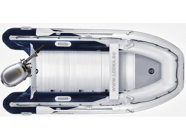 """HONDA T40 AE2 - Надуваема СЕДЕММЕСТНА моторна рибарска лодка с твърдо АЛУМИНИЕВО дъно и надуваем кил """"HONWAVE T40 AE2"""" с размери 395x189 cm, Товароносимост: 1050 кг, Цвят: светло сива"""