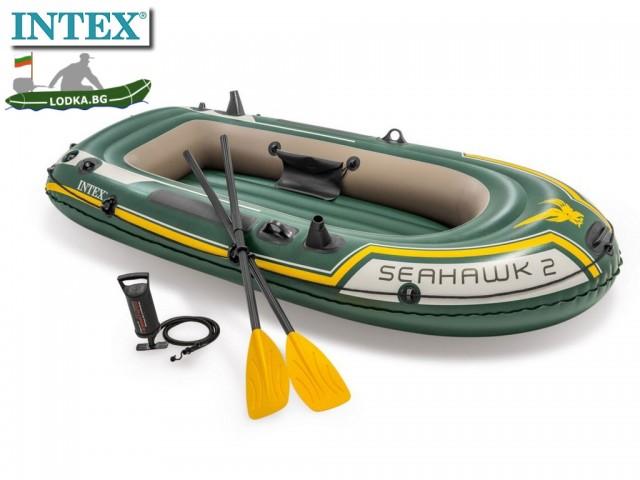 """INTEX 68347NP – Надуваема ДВУМЕСТНА лодка """"SEAHAWK 2"""" с размери 236 х 114 х 41 cm, Товароносимост: 200 кг, С гребла и помпа в комплекта"""