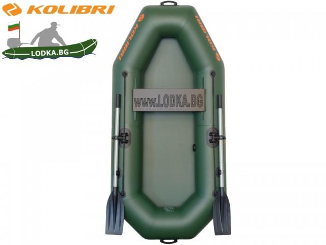 """KOLIBRI - Надуваема ЕДНОМЕСТНА РИБАРСКА лодка """"K-210"""", Размери: 210x105 cm, Товароносимост: 110 кг, Цвят: Зелен"""