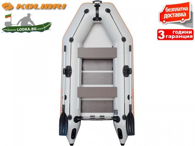 """KOLIBRI - Надуваема ТРИМЕСТНА РИБАРСКА МОТОРНА лодка """"KM-280 SC deck"""", Размери: 280x148cm, ОРЕБРЕНО дъно, Товароносимост: 351 кг, Цвят: Сив"""