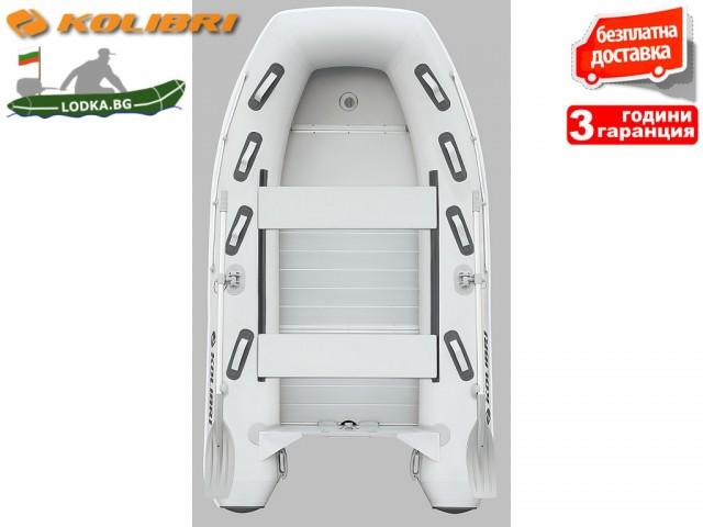 """KOLIBRI - Надуваема 4-МЕСТНА РИБАРСКА КИЛОВА лодка """"KM-300 DXL Aluminium floor"""", Размери: 300x170 cm, АЛУМИНИЕВО ДЪНО, Товароносимост: 500 кг, Цвят: Светло сив"""