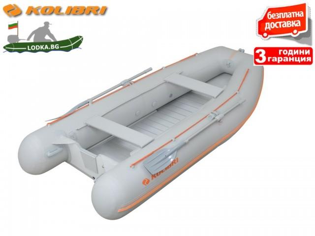 """KOLIBRI - Надуваема ПЕТМЕСТНА РИБАРСКА КИЛОВА лодка """"KM-360 DSL-Aluminium floor"""", Размери: 360x160cm, ТВЪРДО ДЪНО, Товароносимост: 632 кг, Цвят: Сив"""