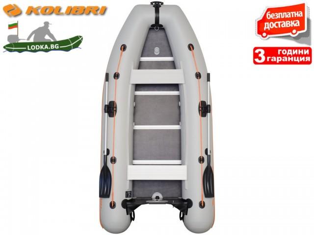 """KOLIBRI - Надуваема ПЕТМЕСТНА РИБАРСКА КИЛОВА лодка """"KM-360DSL"""", Размери: 360x160cm, ТВЪРДО ДЪНО, Товароносимост: 632 кг, Цвят: Сив"""