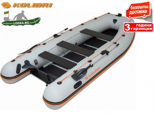 """KOLIBRI - Надуваема ШЕСТМЕСТНА РИБАРСКА КИЛОВА лодка """"KM-400DSL"""", Размери: 400x190cm, ТВЪРДО ДЪНО, Товароносимост: 700 кг, Цвят: Сив"""