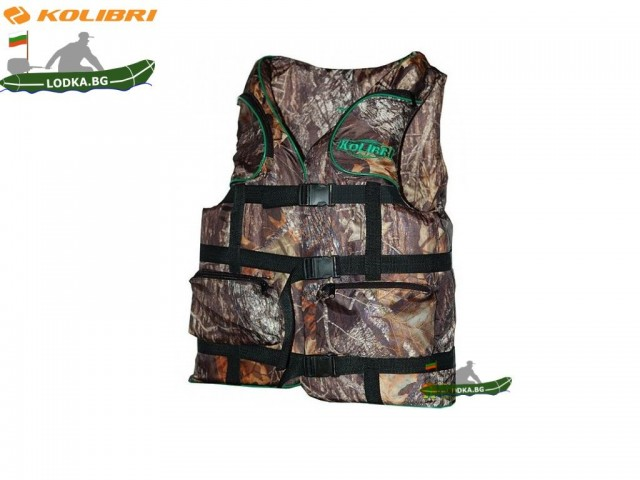 KOLIBRI - Спасителна жилетка за хора с тегло 110-130 кг, Цвят: Камуфлажен