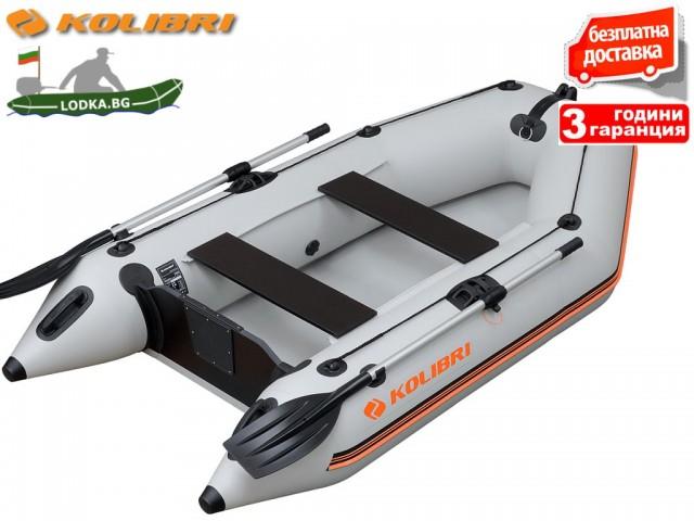"""KOLIBRI - Надуваема ДВУМЕСТНА РИБАРСКА МОТОРНА лодка """"KM-260 SC deck"""", Размери: 260x140cm, Оребрено дъно, Товароносимост: 265 кг, Цвят: Зелен"""