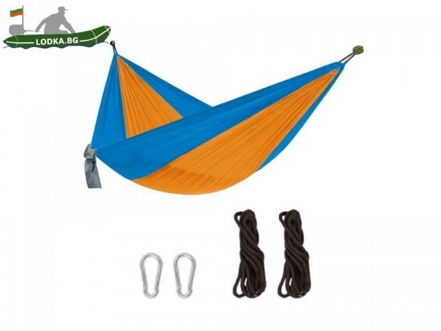 MAX-600245N - Хамак от парашутен плат, Размери: 230х130 cm, Дебелина на въжето: 5 mm, Максимално натоварване: 120 кг