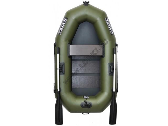 OMEGA - Надуваема ЕДНОМЕСТНА гребна рибарска лодка с оребрено дъно 190 LST PRO с размери 190x115cm, Товароносимост: 170 кг, Цвят: тъмно зелен, хаки
