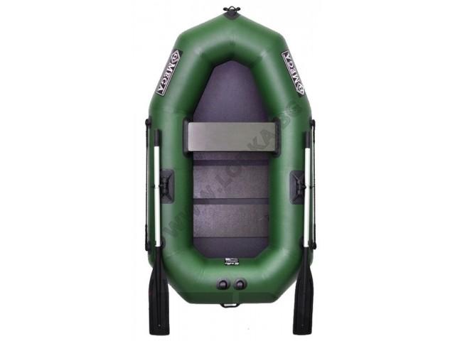 OMEGA - Надуваема ЕДНОМЕСТНА гребна рибарска лодка с оребрено дъно 190 LST PRO с размери 190x115cm, Товароносимост: 170 кг, Цвят: светло зелен, стандартен