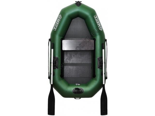 OMEGA - Надуваема ЕДНОМЕСТНА гребна рибарска лодка с оребрено дъно 190 LST PS PRO с размери 190x115cm, Товароносимост: 170 кг, Цвят: светло зелен, стандартен