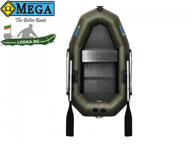 OMEGA - Надуваема ЕДНОМЕСТНА гребна рибарска лодка с оребрено дъно 190 LST PS PRO с размери 190x115cm, Товароносимост: 170 кг, Цвят: тъмно зелен, хаки
