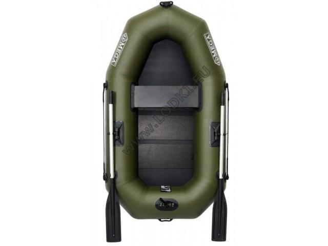 OMEGA - Надуваема ЕДНОМЕСТНА гребна рибарска лодка с оребрено дъно 210 LST с размери 210x120cm, Товароносимост: 200 кг, Цвят: тъмно зелен, хаки
