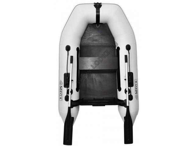 OMEGA - Надуваема ЕДНОМЕСТНА моторна рибарска лодка с оребрено дъно210 M Deluxe RT PT с размери 210x130cm, Товароносимост: 200 кг, Цвят: светло сив