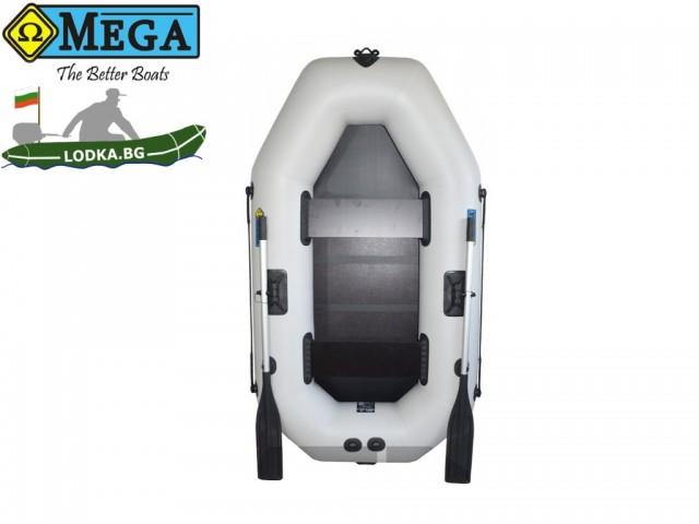OMEGA - Надуваема ДВУМЕСТНА гребна рибарска лодка с оребрено дъно 220 LSPT Active Plus с размери 220x125cm, Товароносимост: 210 кг, Цвят:светло сив