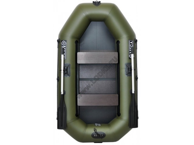 OMEGA - Надуваема ДВУМЕСТНА гребна рибарска лодка с оребрено дъно 220 LSPT PS Active Plus с размери 220x125cm, Товароносимост: 210 кг, Цвят: тъмно зелен, хаки