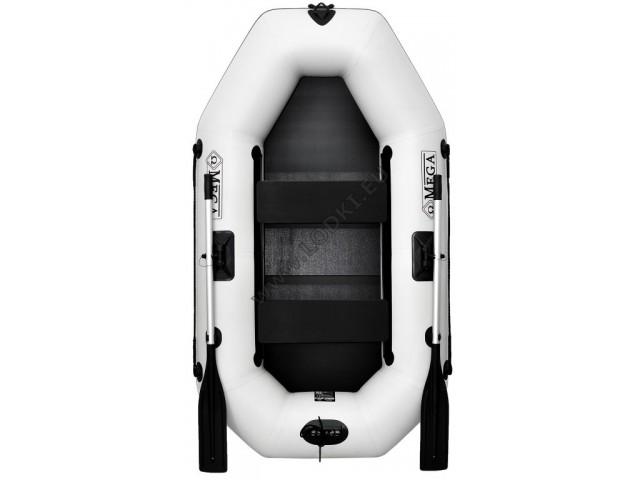 OMEGA - Надуваема ДВУМЕСТНА гребна рибарска лодка с оребрено дъно 220 LSPT PS Active Plus с размери 220x125cm, Товароносимост: 210 кг, Цвят: светло сив