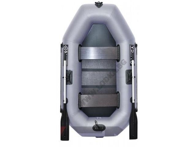 OMEGA - Надуваема ДВУМЕСТНА гребна рибарска лодка с оребрено дъно 220 LST PRO с размери 220x125cm, Товароносимост: 210 кг, Цвят: тъмно сив