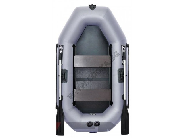 OMEGA - Надуваема ДВУМЕСТНА гребна рибарска лодка с оребрено дъно 220 LST PS Active с размери 220x125cm, Товароносимост: 210 кг, Цвят: тъмно сив