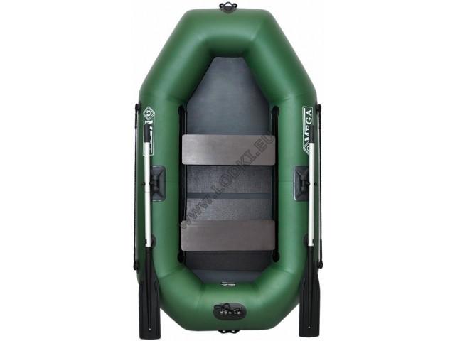 OMEGA - Надуваема ДВУМЕСТНА гребна рибарска лодка с оребрено дъно 220 LST PS Active с размери 220x125cm, Товароносимост: 210 кг, Цвят: светло зелен, стандартен