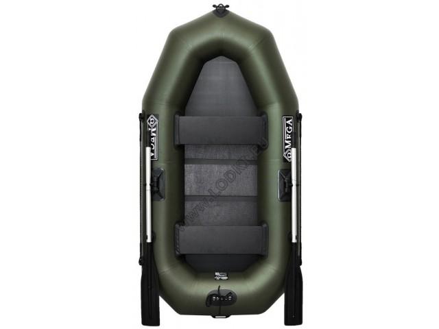 OMEGA - Надуваема ДВУМЕСТНА гребна рибарска лодка с оребрено дъно 230 LST Pro с размери 230x120cm, Товароносимост: 210 кг, Цвят: тъмно зелен, хаки