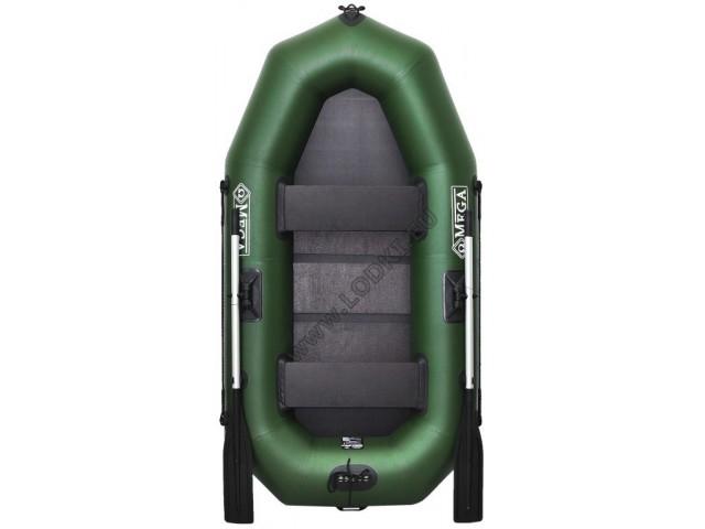 OMEGA - Надуваема ДВУМЕСТНА гребна рибарска лодка с оребрено дъно 230 LST Pro с размери 230x120cm, Товароносимост: 210 кг, Цвят: светло зелен, стандартен