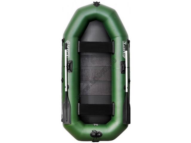 OMEGA - Надуваема ДВУМЕСТНА гребна рибарска лодка с оребрено дъно 245 LSPT Pro Plus с размери 245x120cm, Товароносимост: 215 кг, Цвят: светло зелен, стандартен