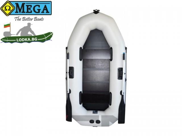 OMEGA - Надуваема ДВУМЕСТНА гребна рибарска лодка с оребрено дъно 245 LSPT Pro Plus с размери 245x120cm, Товароносимост: 215 кг, Цвят: светло сив