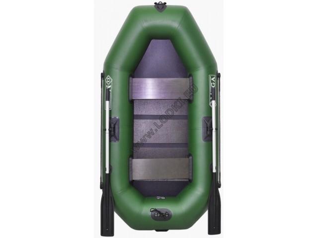OMEGA - Надуваема ДВУМЕСТНА гребна рибарска лодка с оребрено дъно 250 LSPT Active Plus с размери 249x125cm, Товароносимост: 220 кг, Цвят: светло зелен, стандартен